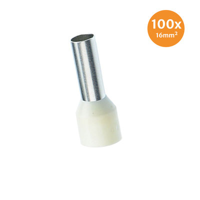Aderendhüls Isoliert 16mm² Elfenbeinfarben 100 Stück