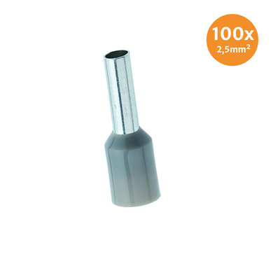Aderendhüls Isoliert 2,5mm² Grau 100 Stück
