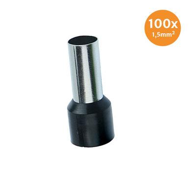 Aderendhüls Isoliert 1,5mm² Schwarz 100 Stück