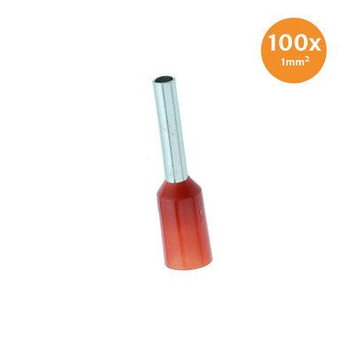 Aderendhüls Isoliert 1mm² Rot 100 Stück