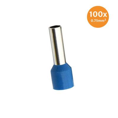 Aderendhüls Isoliert 0,75mm² Blau 100 Stück