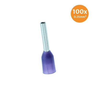 Aderendhüls Isoliert 0,25mm² Violett 100 Stück