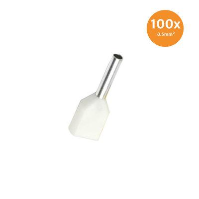 Aderendhülse Doppelt Isoliert 0,5mm² Weiß 100 Stück