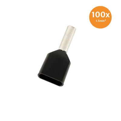 Aderendhülse Doppelt Isoliert 1,5mm² Schwarz 100 Stück