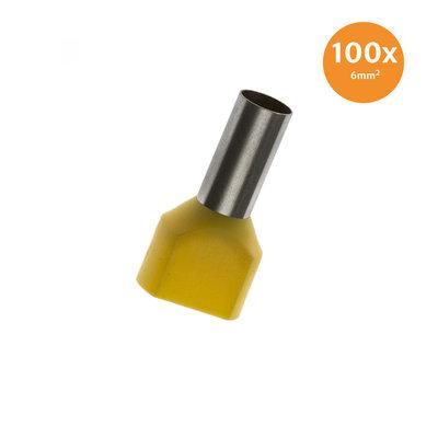 Aderendhülse Doppelt Isoliert 6mm² Gelb 100 Stück