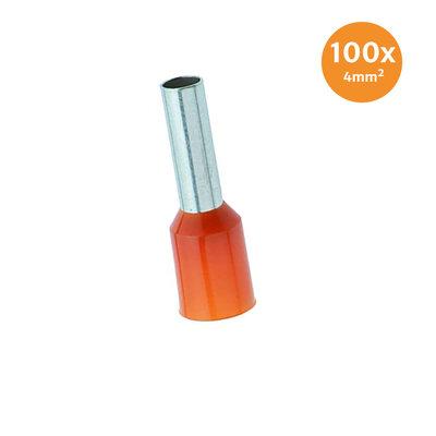 Aderendhüls Isoliert 4mm² Orange 100 Stück