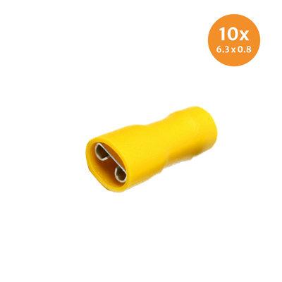 Flachsteckhülse Vollisoliert Gelb (6,4x0,8mm) 10 Stück