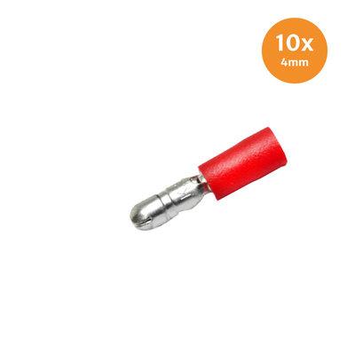 Rundstecker Vollisoliert Rot (0.5-1.5mm) 10 Stück