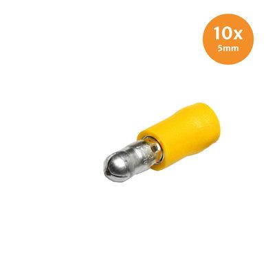 Rundstecker Vollisoliert Gelb (4-6mm) 10 Stück