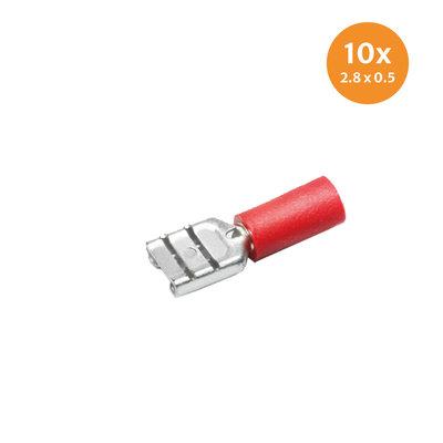 Flachsteckhülsen Teilisoliert Rot (2,8x0,5mm) 10 Stück