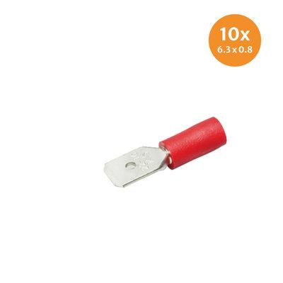 Flachstecker isoliert Rot (6,3x0,8mm) 10 Stück