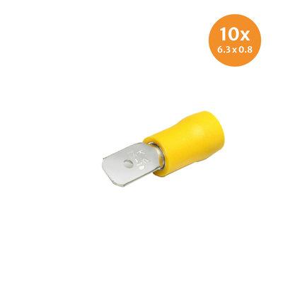 Flachstecker isoliert Gelb (6,3x0,8mm) 10 Stück