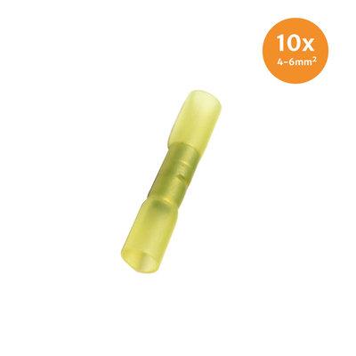 Wärmeschrumpfende Stoßverbinder Wasserdicht Gelb (4-6mm) 10 Stück