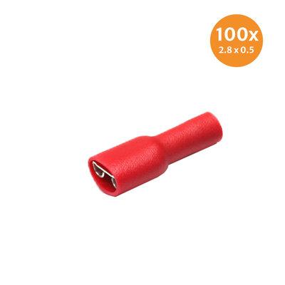 Flachsteckhülse Vollisoliert Rot (2,8x0,5mm) 100 Stück