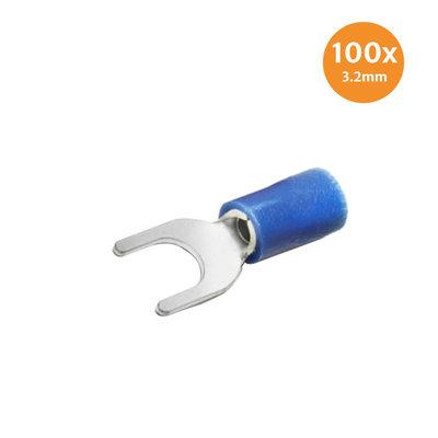 Gabelkabelschuh Isoliert Blau 3.2mm 100 Stück