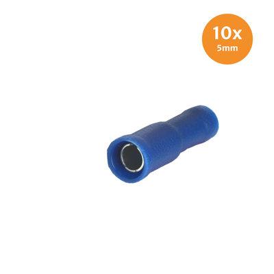 Rundsteckhülse Vollisoliert Blau 5mm (1,5-2,5mm) 10 Stück