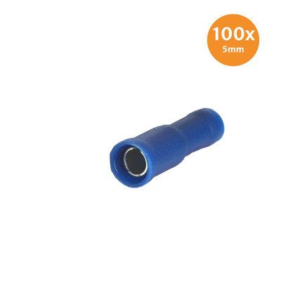Rundsteckhülse Vollisoliert Blau 5mm (1,5-2,5mm) 100 Stück