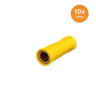 Rundsteckhülse Vollisoliert Gelb 5mm (4-6mm) 10 Stück