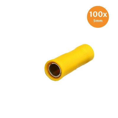 Rundsteckhülse Vollisoliert Gelb 5mm (4-6mm) 100 Stück