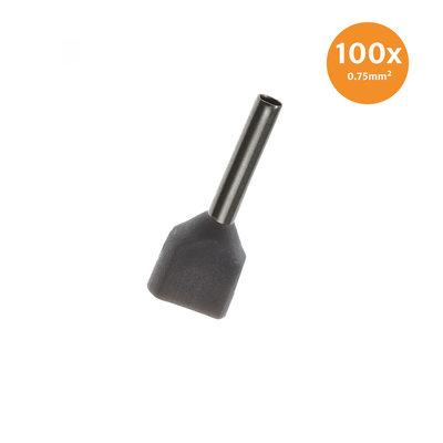 Aderendhülse Doppelt Isoliert 0,75mm² Grau 100 Stück