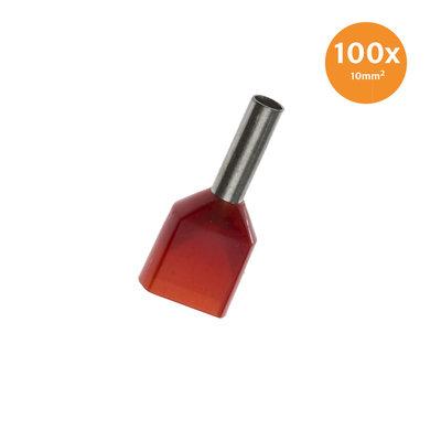 Aderendhülse Doppelt Isoliert 10mm² Rot 100 Stück