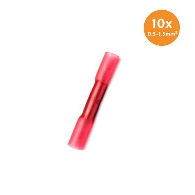 Wärmeschrumpfende Stoßverbinder Wasserdicht Rot (0.5-1.5mm) 10 Stück