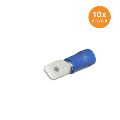 Flachstecker isoliert Blau (6,3x0,8mm) 10 Stück